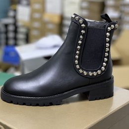 Discount rhinestone flat ankle boots Designer Red Bottom Capahutta Ankle Boots For Women Flat Leather Martin Boots With Spikes and Studs Winter Casual Boots