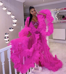 royal blue prom pregnant dresses NZ - Gorgeous Fuchsia Ruffles Long Pregnant Prom Gowns Women Robe See Through Tulle A-line Puffy Maternity Dress for Photoshoot Vestidos