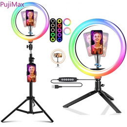 Wholesale Dimmable RGB LED Selfie Ring Fill Light Photo Ring Lamp With Tripod For Makeup Video Live Aro De Luz Para Celular lamp with tripod stand