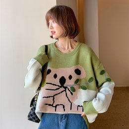 Wholesale korean winter sweater suit for sale - Group buy South Island style large size sweater and jeans set Korean cartoon fat sister mm mind set new winter suit