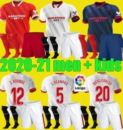 Men Kids 20 21 EVER BANEGA Seville fc Soccer Jerseys Kit 2020 2021 Sevilla J.NAVAS NOLITO JONG DABBUR football shirt set uniform