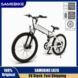Toptan satış AB Stok Siparişi LO26 48 V 500 W Elektrikli Dağ Bisikleti Katlanır Ebike AB Tak Elektrikli Bisiklet 26 inç Lastik 10.4Ah Li-Ion Pil Moped Bisiklet