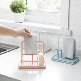 Wholesale rags clothing resale online - 2020 new hot Kitchen Cloth Towel Rack Soap Dish Holder Rag Storage Rack Drain Shelves