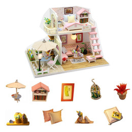 castle doll houses Canada - Pink LOFT Lovely Doll House Miniature DIY Dollhouse With Garden And Furniture Wooden House Toy For Children Birthday Gift LJ201126