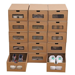 wholesale shoes boxes quality UK - Drawer Type Paper Shoes Storage Box Man Woman Thickening Papers Quality Shoes Storages Boxes Women Men Organizer Case DHF3077