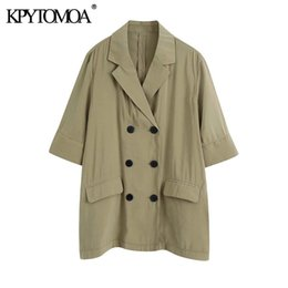 Wholesale short sleeve fitted blazer resale online - KPYTOMOA Women Fashion Double Breasted Loose Fitting Blazer Coat Vintage Short Sleeve Pockets Female Outerwear Chic Tops LJ201021