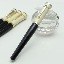 Pluma de bolígrafo de alta calidad Greta Garbo Black Resin Fountain Pen / Roller Ball Pen With Pearl Silver Clip Office Schoolery en venta