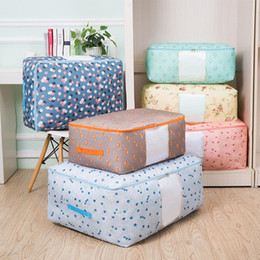 Discount l quilts Thicken Oxford Cloth Storage Bag Closet Organizer Home Quilt Sock Storage Box With Window Foldable Tidy Case Toys Organi
