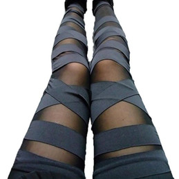 ingrosso legin per le donne-Leggings di fasciatura Leggins affascinanti Leggins Slim Punk Legins Lady Pantaloni sexy Splicing Stretch Trend Pantaloni Black Pantaloni Patchwork