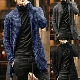cardigan largo para hombre al por mayor-Último Blue Winter Warm Mens Cardigan Suéter Largo Sweaters Casual Knit Suéteres Para Hombres Moda Color Sólido Autumno Outerwear Coat Tops