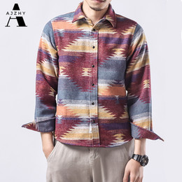 Wholesale flannel shirts womens resale online - Folk Custom Geometric Autumn Winter Flannel Shirt Men Womens Plaid Streetwear Casual Vintage Long Sleeve Shirts Dress Clothing C1212