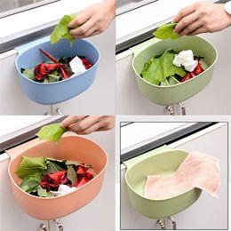 Cozinha lixo lata de limpeza de plástico Mobiliário de lixo cesta de lixo cor sólida pendurado lixo lixo sem tampa porta do banheiro 1 29QH g2 em Promoção