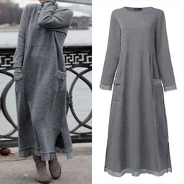 hoodie sweatshirt dress plus size Australia - Fashion Womens Autumn Sundress ZANZEA 2021 Lace Patchwork Sweatshirts Dress Female Hoodies Plus Size Maxi Vestidos Pullover 5XL
