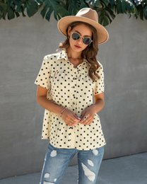 womens button blouses 2021 - Wixra Womens Blouse Ladies Dot Print Turn-down Collar Short Sleeve Shirts 2021 Summer Casual Tops
