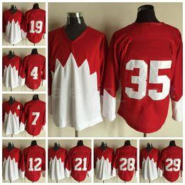 Wholesale Team Ice Hockey 1972 Retror Men All Stitched 21 STAN MIKITA Jersey 28 BOBBY CLARKE 29 KEN DRYDEN 35 TONY ESPOSITO Red White