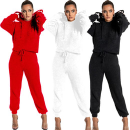 Wholesale white lounge suit resale online - Womens two piece suit sweatshirt winter solid color long sleeved trousers women lounge wear sets drawstring hooded loose sportswear