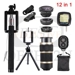 tripod for macro Australia - Camera Lens Fish eye Wide Angle Macro Lenses 8x Zoom Telephoto Lentes Tripod Clips Selfie Fill Light 12in1 Kits For Cell Phone