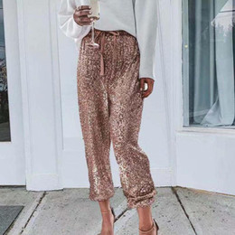 Wholesale gold sequin trousers for sale - Group buy Rose Gold Sequin Pants Women Drawstring High Waist Pants Streetwear Glitter Sparkly Club Party Ladies Trousers Pantalon Femme