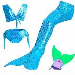 Wholesale teenage bathing suits for sale – plus size 4Pcs Color Little Mermaid Tails Girls Cosplay Costume for Swimming with Fin cos ariel Mermaid Girls Bathing Swimwear suit