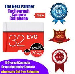 DHL Merk 100% Real Capaciteit 32BG 64 GB Micro SD-geheugenkaart TF U1 Klasse10 Hoge snelheid Kwaliteit Detailhandel