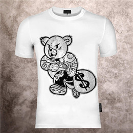 Wholesale diamond neck for sale - Group buy Men s round neck printed Phillip plain teddy bear cartoon personality hot diamond print summer slim short sleeve T shirt