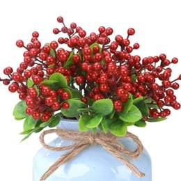artificial flowers for christmas Australia - Christmas Berry Artificial Red Berries Branches For Christmas Wreaths Craft Decorations DIY Fake Flowers Home Table Decor