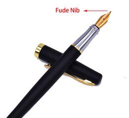 Герцог 209 стальной Fude Calligraphy Fountain Bent Nib, Matte Black с Gold Clip Advanced Puture подарочная ручка на Распродаже