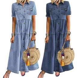 Wholesale long denim maxi summer dress for sale - Group buy Summer Retro Women Dress Short Sleeve Turn Down Collar Pockets Buttons Long Loose Denim Dress Female Fashion Vestidos F1130