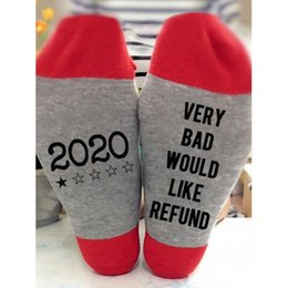 g cotton socks 2020 - Men Women Contrast Color Cotton Crew Socks Funny Saying 2020 Very Bad Would Like Refund Letters Printed Novelty Casual H
