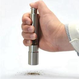 Aço Inoxidável Pimentão Polible Push Salt Pepper Moedor Máquina Manual Máquina Spice Molho Moedor Cozinha Ferramenta RRD4318 em Promoção
