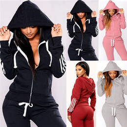 Wholesale jogger suits women for sale - Group buy Women Sweatsuit hooded two piece sets sports outfits long sleeve jacket leggings winter clothes jogger suit casual sportswear