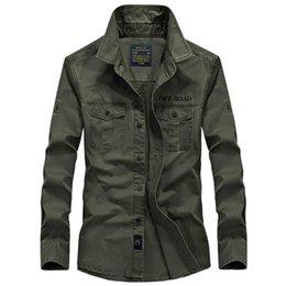 Streetwear Size Cotton Pocket Military Casual Khaki Slim Fit Shirt Jacket Long Sleeve Vintage Shirts Men's Plus With 4xl Twxdi
