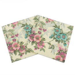 Color Printing Napkins Flower Series Native Wood Pulp Party Bar Decoration Paper Restaurant supplies high-grade napkins DHL Free 5 N2 on Sale