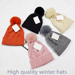 Wholesale grey fur hat women resale online - 2020 beanie New Winter caps Hats Women bonnet Thicken Beanies with Real Raccoon Fur Pompoms Warm Girl Caps snapback pompon beanie