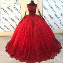 Wholesale mexican long dresses for sale - Group buy Puffy Ball Gown Quinceanera Dresses Long Sleeve Red Tulle Beaded Lace Sweet Mexican Party Dress Cinderella Ball Gowns