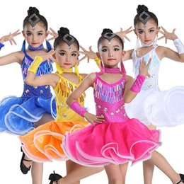 Wholesale clothing for dancers resale online - Girls Sequin Professional Latin Salsa Cha Cha Ballroom Dance Competition Dress Costume for Kid Dancing Clothes Dancer Clothing1
