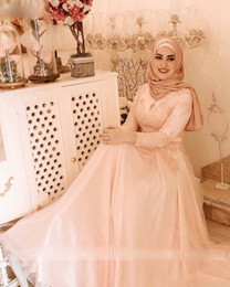 Wholesale long hijab gown picture for sale - Group buy Robe De Soirée De Mariage Muslim Evening Dresses Pearl Pink A Line Appliques Tulle Long Sleeve Lace Elegant Hijab Evening Gowns