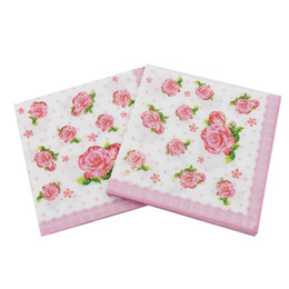 Wholesale Color Printing Napkins Flower Series Native Wood Pulp Party Bar Decoration Paper Restaurant supplies high-grade napkins DHL Free 5 N2
