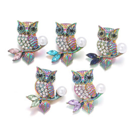 noosa owl UK - Noosa Plating Dazzling Owl Crystal snowflake Snap Buttons fit DIY 18mm snap button bracelet Necklace ACC ingredients supplier Jewelry
