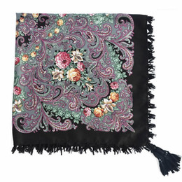 cotton head scarves Canada - 90*90cm Russian National Square Scarf For Women Cotton Big Flower Print Shawl Head Scarves Ladies Retro Fringed Foulard Bandana1
