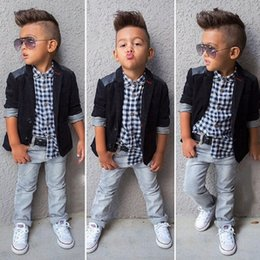 baby boy red plaid shirt 2021 - Casual Baby Boy Clothes Sets Gentleman Suit Toddler Boys Clothing Set 3PCS Coat+Long Sleeve Shirt + pants Kids Infant Clothes C1211