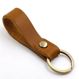 Wholesale golden coins resale online - Luxury keychain designer unisex key chain real leather with stainless steel keychain keyring in Golden with brown