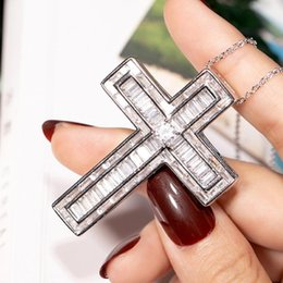 Discount 925 platinum chain BIG 925 Silver Exquisite Bible Jesus Cross Pendant Necklace Women Crucifix Charm pave Square Simulated Platinum Diamond Jewelry