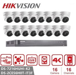 16 security system Canada - Hikvision 16CH HD 5.0MP Security Camera System with 16 x 5MP Outdoor  Indoor CCTV Surveillance Camera DS-2CE56H0T-IT3F1
