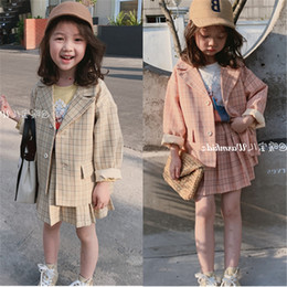 2PCS WLG girls fashion clothing set kids plaid beige pink long sleeve jacket and ruffle skirt set baby girl autumn cltohes on Sale
