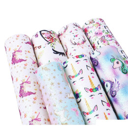 Wholesale printed fabric sheets for sale - Group buy David Accessories A4 Size Fine Glitter Unicorn Flower Printed Faux Vinyl Leather Sheet Fabric For Diy Hairbows4639 Bd