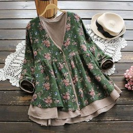 forest shirt 2021 - 3214 Forest Small Floral Print Cardigan Lacing V-Neck Vintage Shirt Mori Girl 2020 Blouse Fahion Tops T601