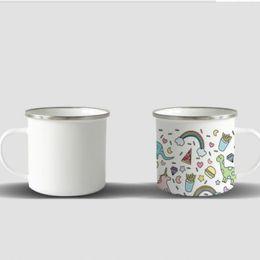 Wholesale 20 pcs sublimation Enamel Coffee Mug 12oz Camping Mug Metal Coffee Mugs Enamel Steel Mug Durable Travel Enamel Beverage Mugs DHL shipping