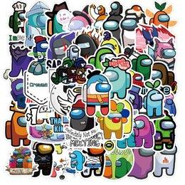 DHL 50PCS / Ensemble de dessins animés parmi les autocollants américains Jeu Anime Stikers Skateboard Skateboard Portable Vélo Car Kawaii Kids Étanche Stikers Toys CPA2645 en Solde
