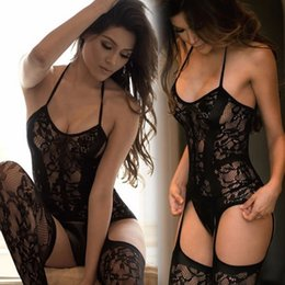 Wholesale black woman sexi resale online - Hot Lingerie Set Black Erotic Porno Dress Women Teddy Sexy Mujer Sexi Underwear Nightgown Costumes